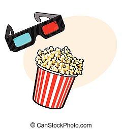 cine, objetos, -, palomitas, y, 3d, stereoscopic, anteojos