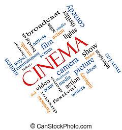 cine, palabra, nube, concepto, angular