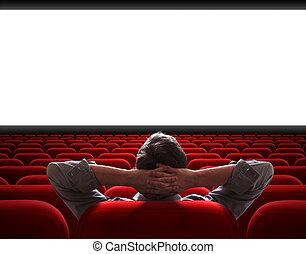 cine, sentado, solamente, vestíbulo, vacío, hombre