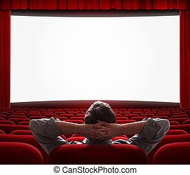 cine, uno, solamente, vestíbulo, vacío, hombre