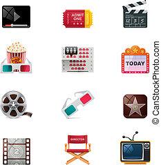 cine, vector, conjunto, icono