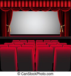 cine, vestíbulo, con, cortina roja, y, sillón
