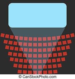 cinema, ícone, um, tela azul, e, filas, de, assentos, em, a, teatro