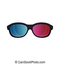 cinema, óculos, ícone, 3d