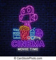 cinema., 現代, ネオン, 明るい, 印