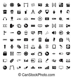 cinema 100 icons set for web - cinema 100 icons set for web...