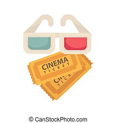 Cinema 3D glasses and tickets for movie vector flat icon -...