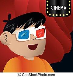 cinema 3d glasses boy looking teather