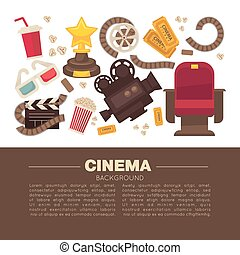 Cinema advertisement banner with symbolic cinematographic equipment, gold award and snack for seans inside circle isolated cartoon flat vector illustration.