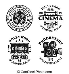 Cinema and cinematography set of vector emblems