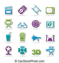 Cinema and Movie icons- vector icon set