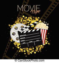 cinema and movie night black background one