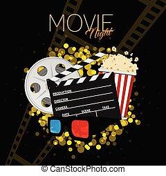 cinema and movie night black background two