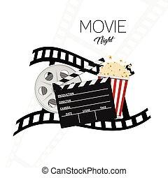 cinema and movie night illustration background one