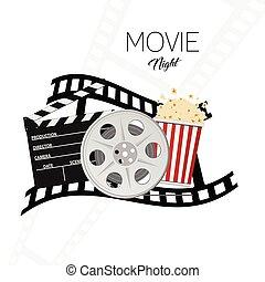 cinema and movie night illustration background three