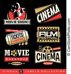 Cinema and movies set of labels, emblems, banners and design...