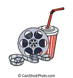 Cinema attributes, film reel and soda water in paper cup
