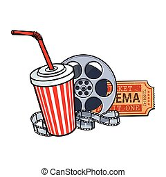Cinema attributes, film reel, ticket, soda water in paper cup