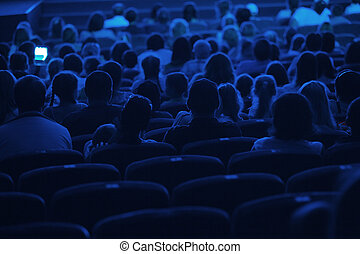 cinema., audiencja, silhouette.