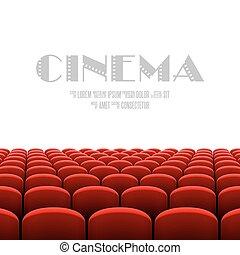 cinema, auditório, com, tela branca