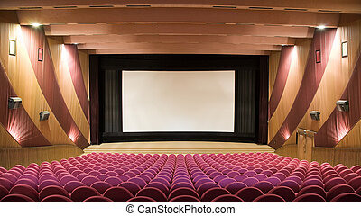 Empty cinema auditorium with line of pink chairs and projection screen. Ready for adding your own picture.
