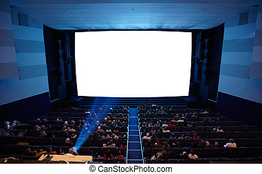 Cinema auditorium with light of projector.