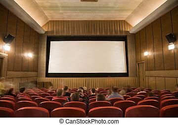 Cinema auditorium with people - Old retro style cinema ...