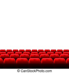 Cinema auditorium with screen and red seats.