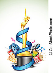 Cinema Award - illustration of cinema award with film stripe...