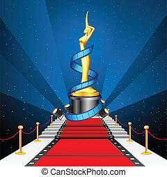 Cinema Award on Red Carpet - illustration of golden cinema...