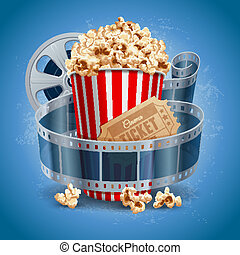Cinema background - Popcorn bowl, film strip and ticket....