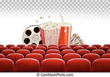 Cinema background with a film reel, popcorn, drink and tickets