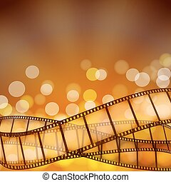 cinema background with film strips and light rays. vector illustration