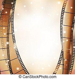 cinema background with retro filmstrip and stars