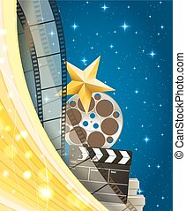 cinema background with retro filmstrip, clapper and star isolated on starry sky background