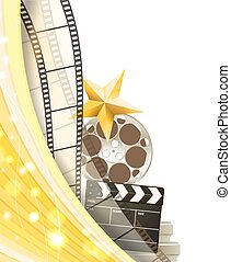 cinema background with retro filmstrip, clapper and star isolated on white background