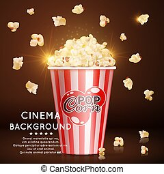 Cinema background with vector realistic popcorn