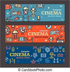 Cinema Banner Card Tickets Set. Vector