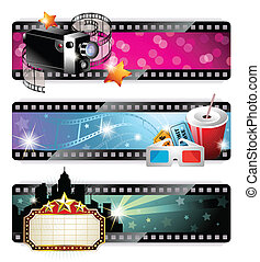 Cinema Banners - Vector illustration representing three ...