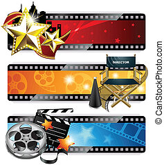 Vector set of three fancy cinema banners, isolated on white.