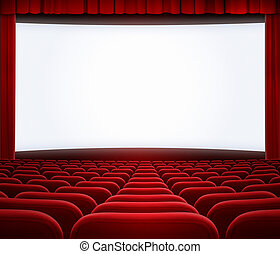 cinema big screen with red curtain frame and seats