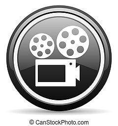 cinema black glossy icon on white background