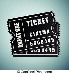 Cinema black ticket icon isolated on blue background. Vector Illustration