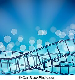 cinema blue background with film strips and light rays....
