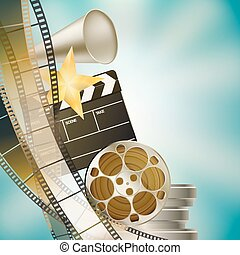 cinema blue background with retro filmstrip, clapper and stars left vertical border