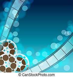 Cinema blue  background with retro filmstrip, film reel. Vintage movie abstract background. vector