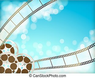 cinema blue background with retro filmstrip, film reel. vintage movie abstract horizontal background. vector