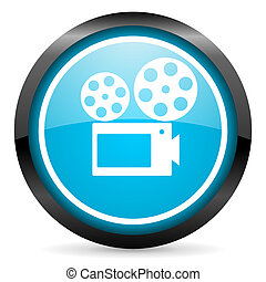 cinema blue glossy circle icon on white background