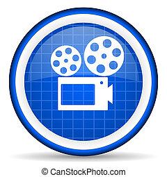cinema blue glossy icon on white background