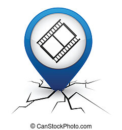 Cinema blue icon in crack.